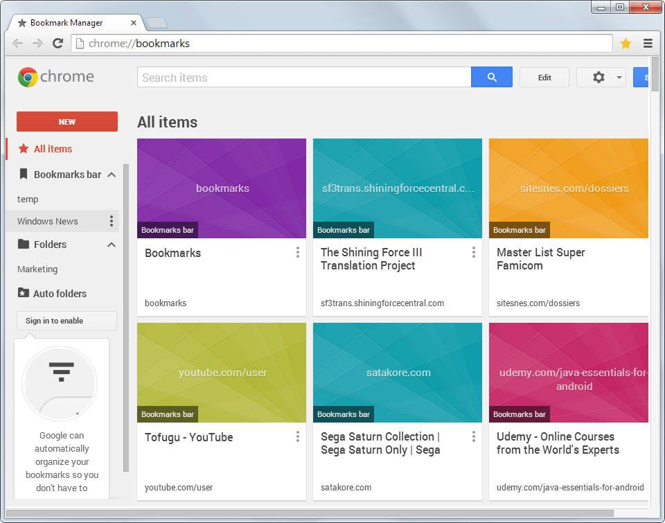 Google releases Bookmark Manager extension for Chrome