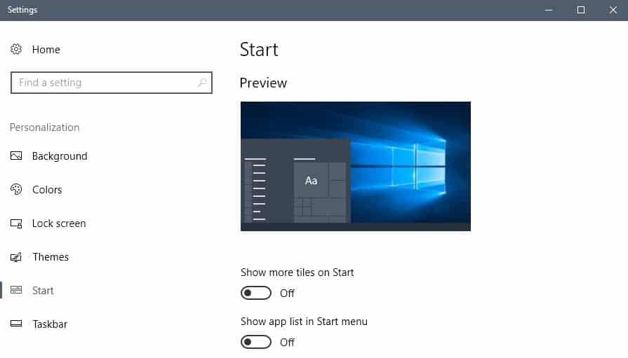 customize start windows 10