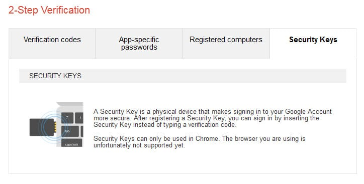 google account security key