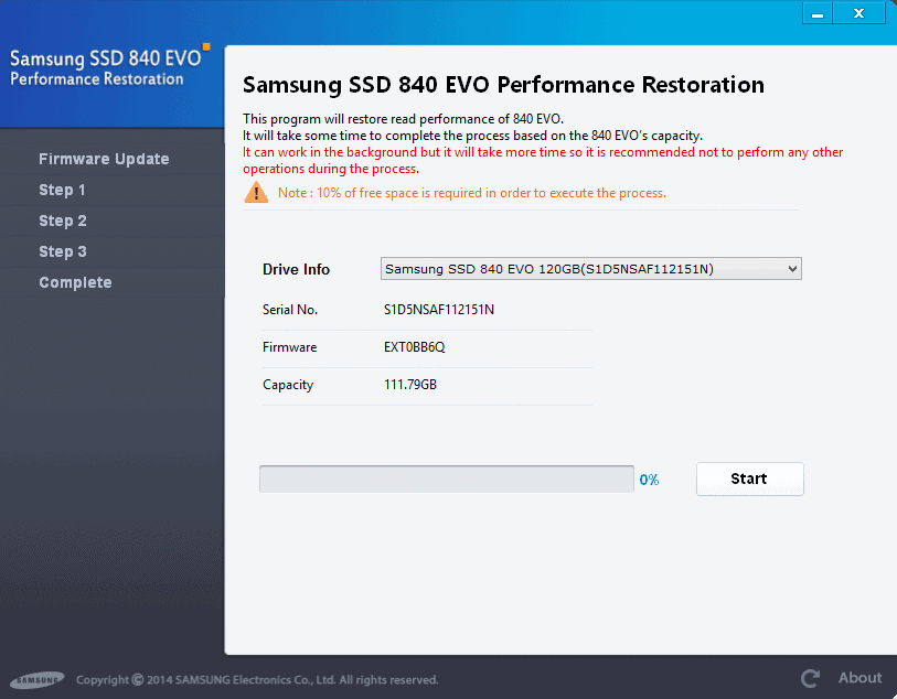 samsung ssd 840 evo performance restoration