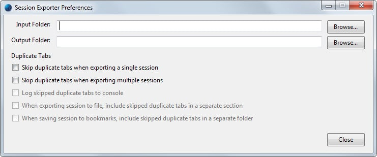 session exporter preferences