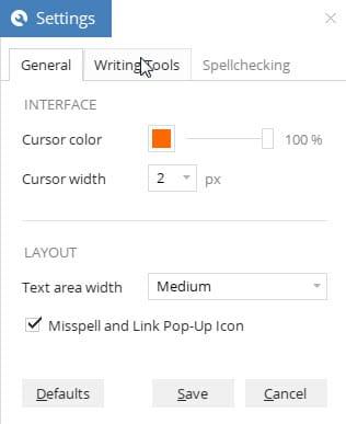 settings text editor