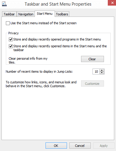 start menu toggle start screen