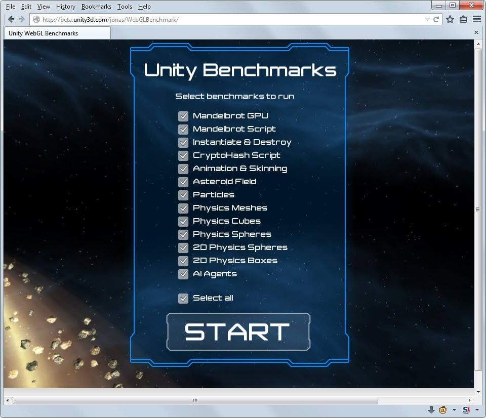 Firefox best browser to run Unity WebGL content according to