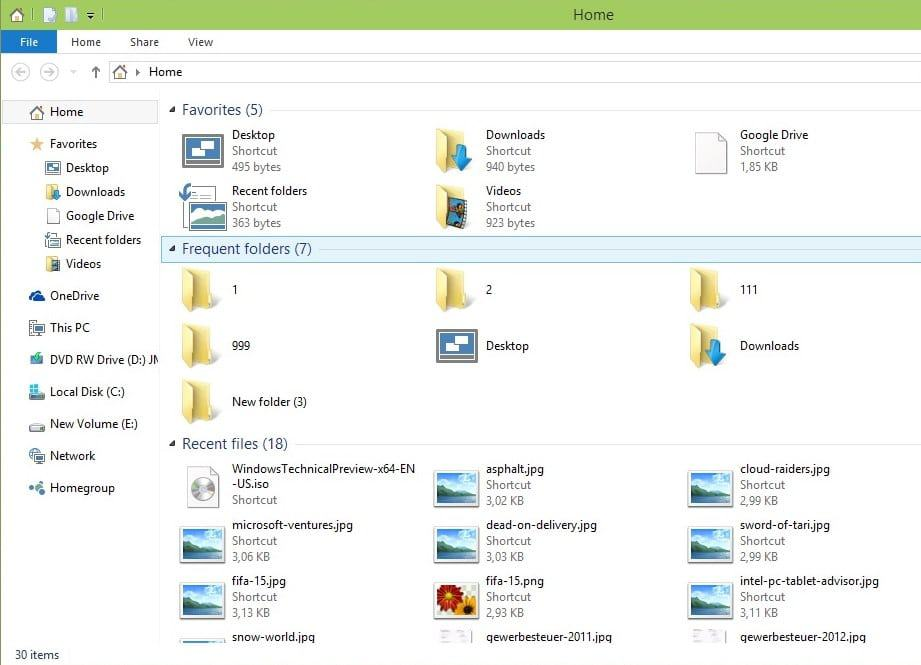 windows explorer home