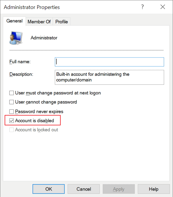 administrator enable local user account