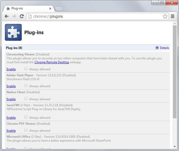 How to re-enable plugins in Chrome that are blocked by Google