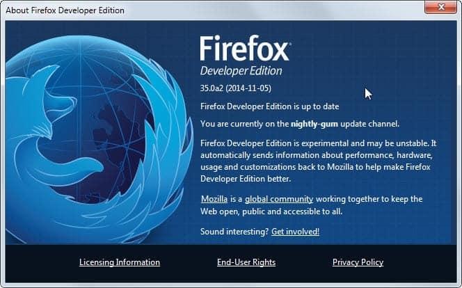 firefox developer edition 35