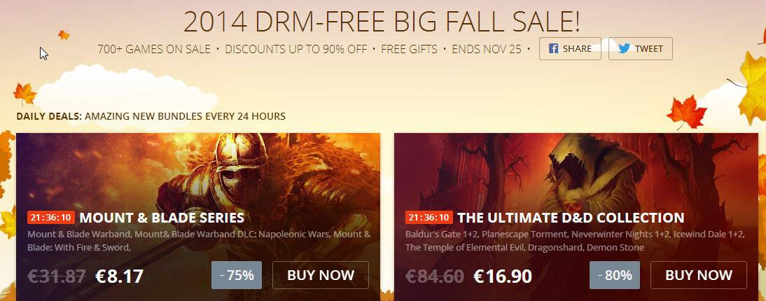 Good Old Games Fall Sale until November 25