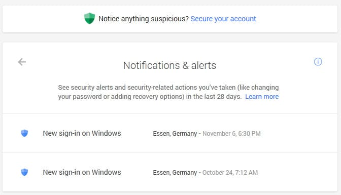 google account notifications alerts