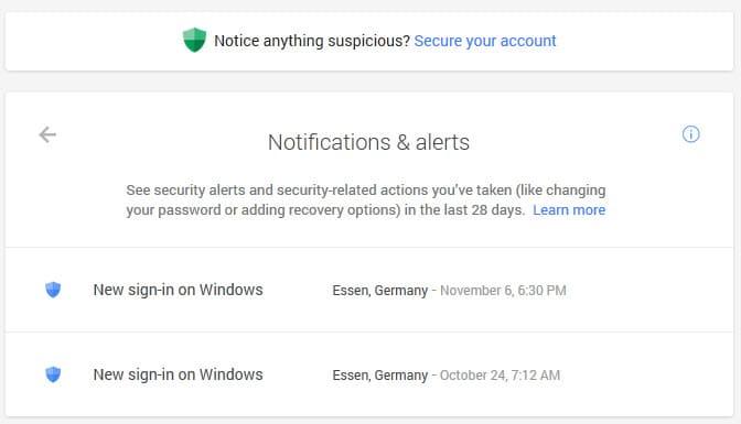 google account notifications alerts