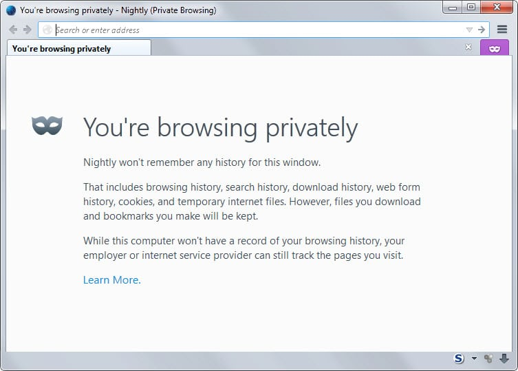 how to make internet explorer open in private browsing