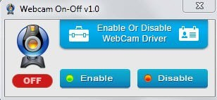 turn webcam on off