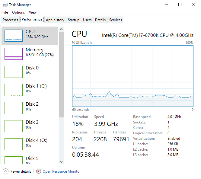 windows 10 task manager performance