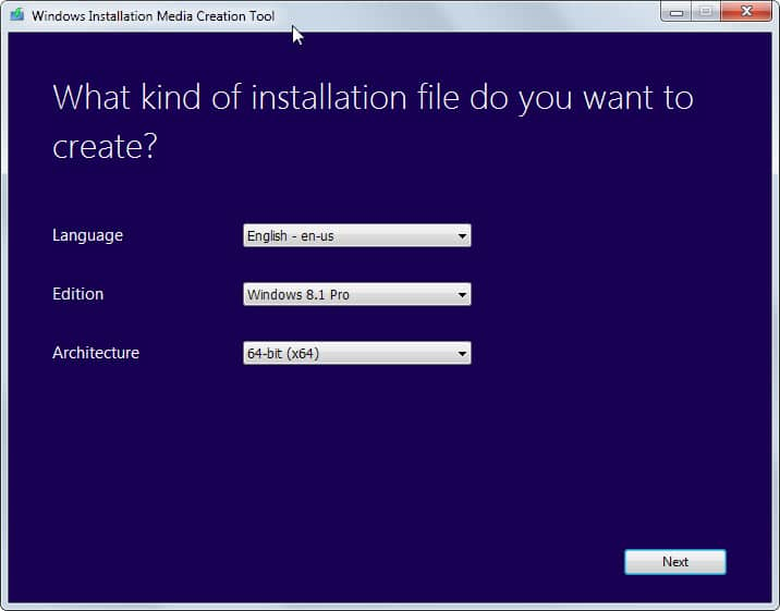 windows installation media creation tool