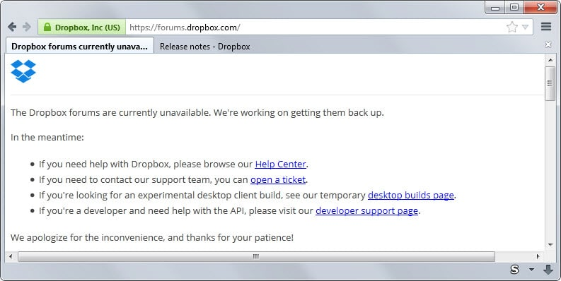 dropbox forum down