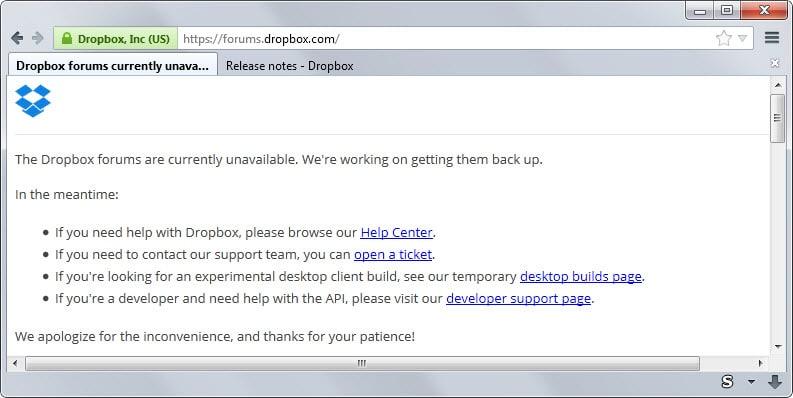 dropbox forum down