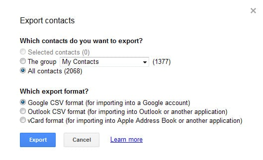 How to export and edit Google Contacts