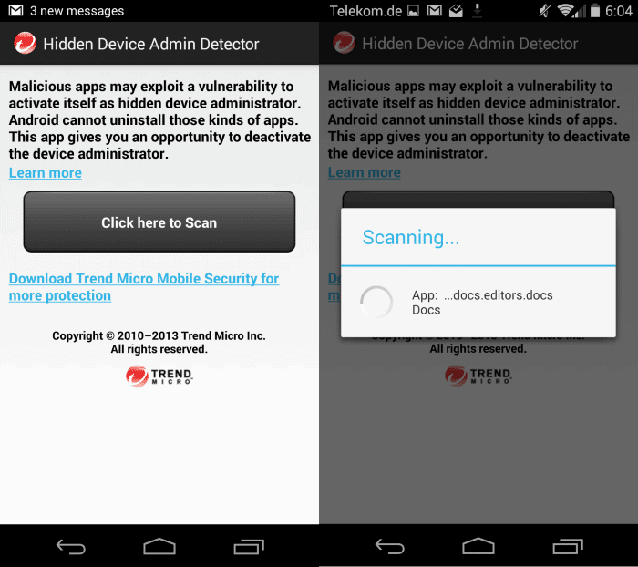 Check for hidden Android device administrators
