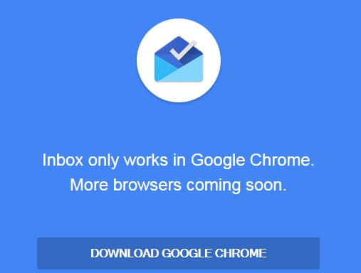 inbox only works in google chrome