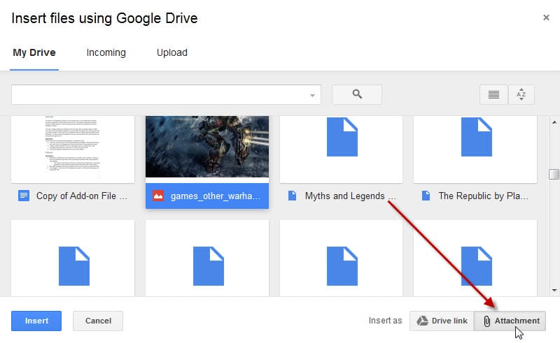 insert files google drive