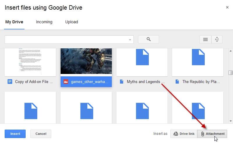 insert files google drive