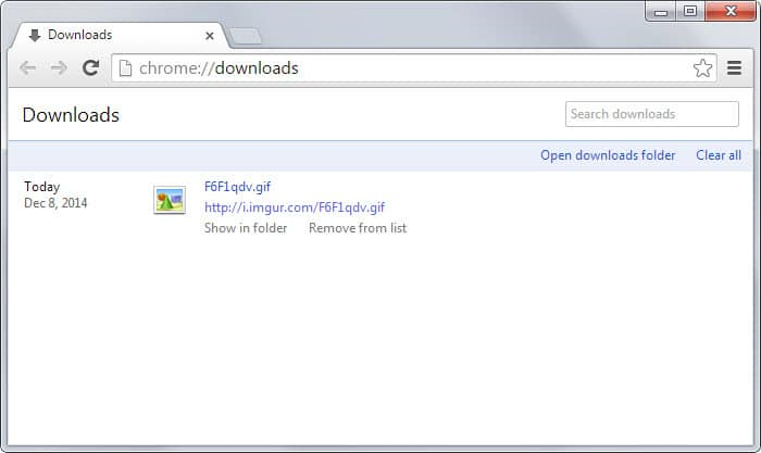 remove from list Chrome downloads