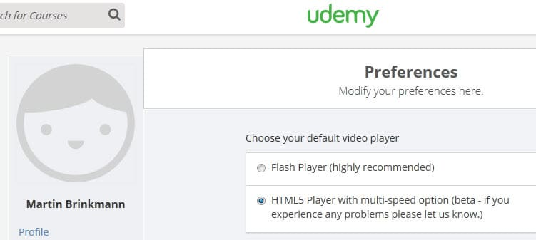 udemy default video player