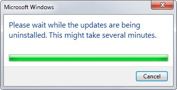 updates uninstalled dialog