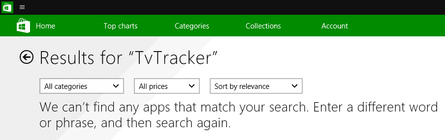 windows store search no result
