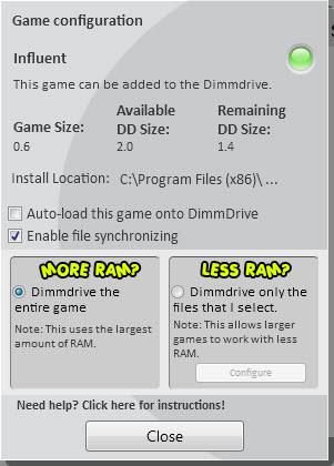 game options steam ram drive