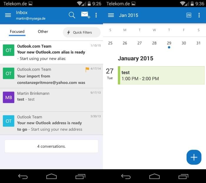 outlook calendar inbox