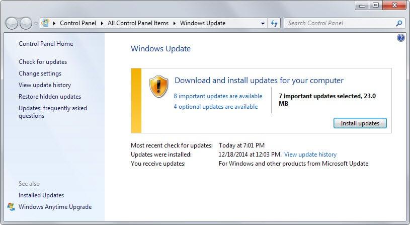 windows updates january 2015