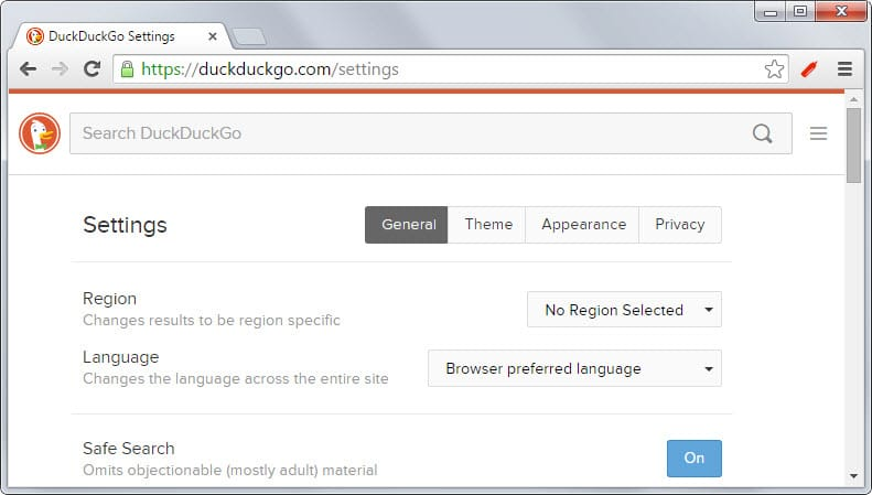 duckduckgo language