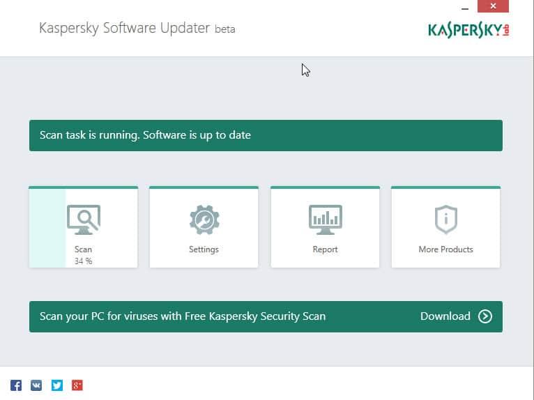 kaspersky software updater interface