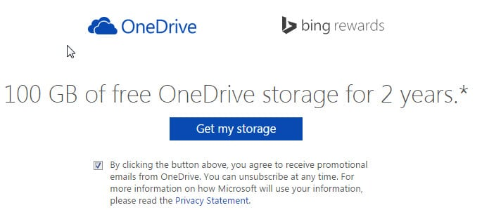 Get 100GB OneDrive space for 2 Years (Bing Rewards, US-only)