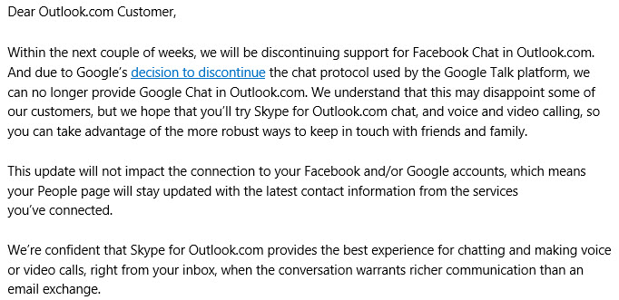 outlook facebook google