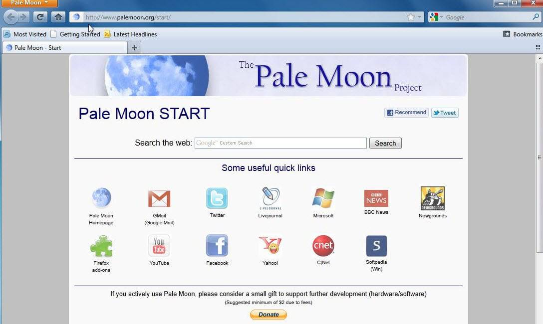pale moon old start