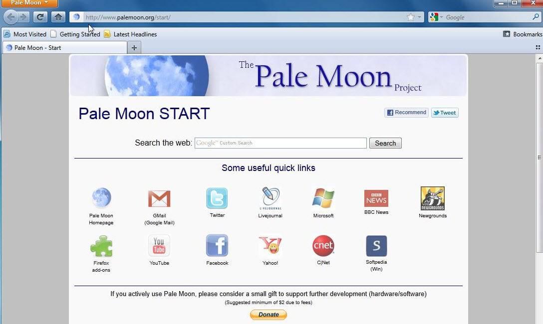 pale moon old start