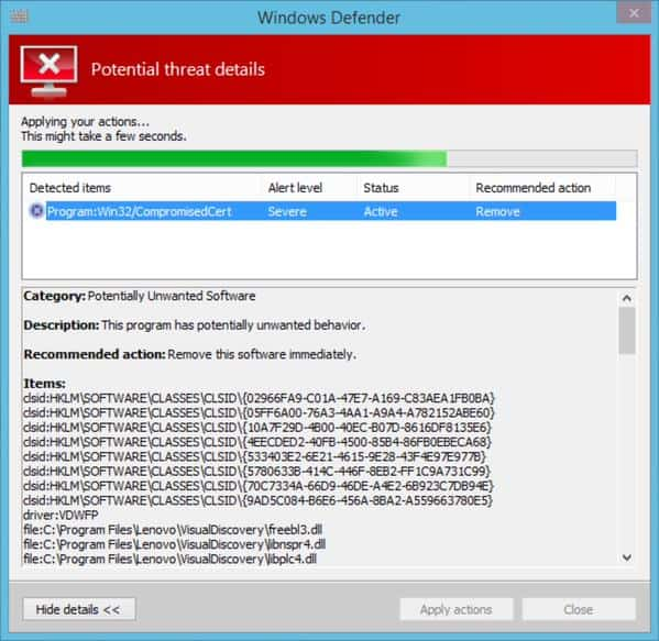windows defender superfish