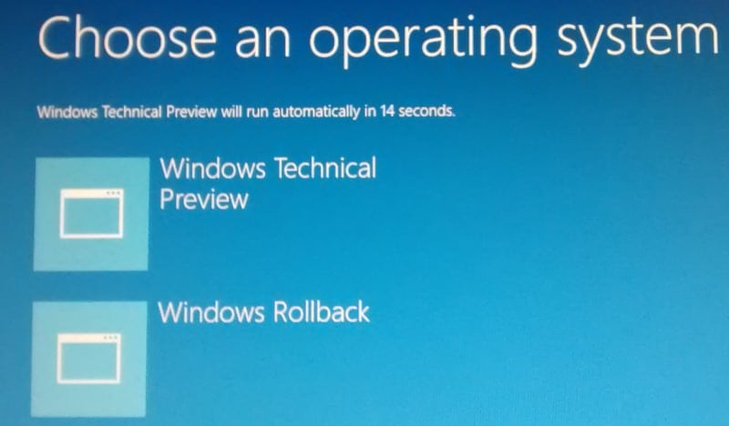 How to get rid of Windows 10's Rollback option on start