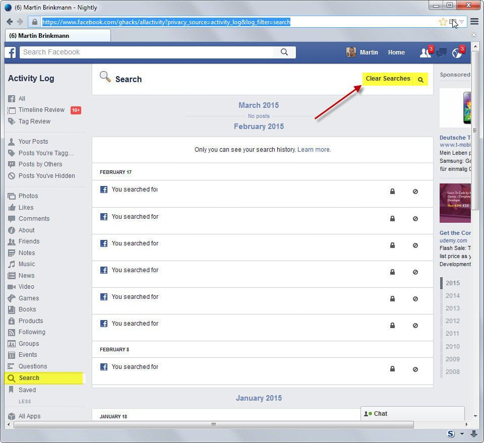 How to remove your search history on Facebook - gHacks Tech News
