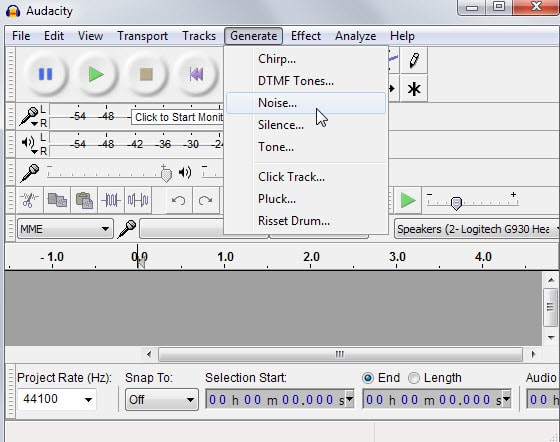 Use Audacity to generate and save white noise audio files