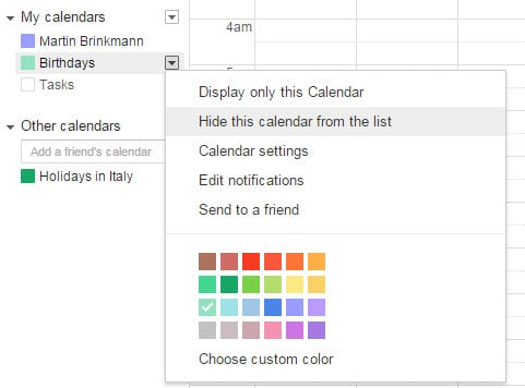 google calendar birthdays