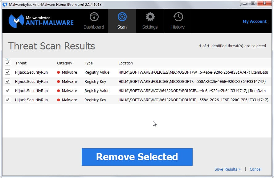 Malwarebytes Hijack.Securityrun hits explained