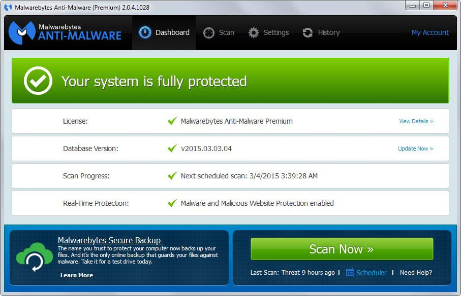 malwarebytes old interface