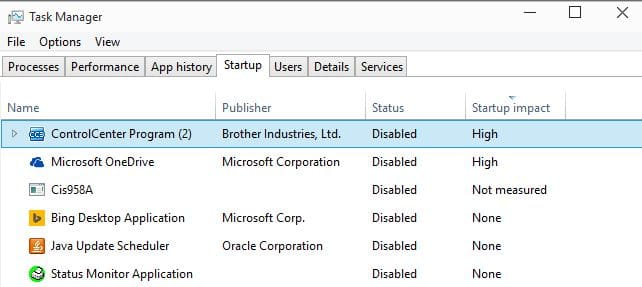 Display a program's startup impact on Windows 8 or 10