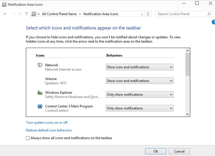 windows 10 notification icons