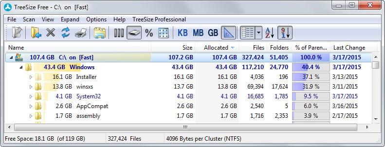 windows folder size