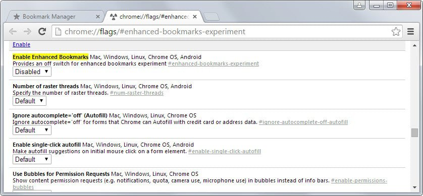 chrome old bookmark manager